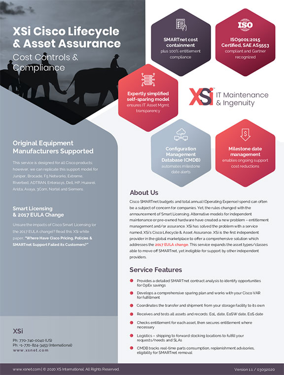 XSi Lifecycle and Asset Assurance Brochure